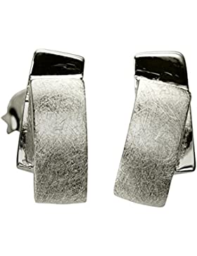 SILBERMOOS Ohrstecker Rechteck gebürstet glänzend Sterling Silber 925 Ohrringe