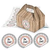 10 Mini-Geschenkkarton Faltschachtel braun natur 9 x 12 x 6 cm ohne Griff + 24 Aufkleber FÜR DICH rot weiß shabby look Ø 4 cm Pappschachtel für selbst gemachte Produkte, Geschenke