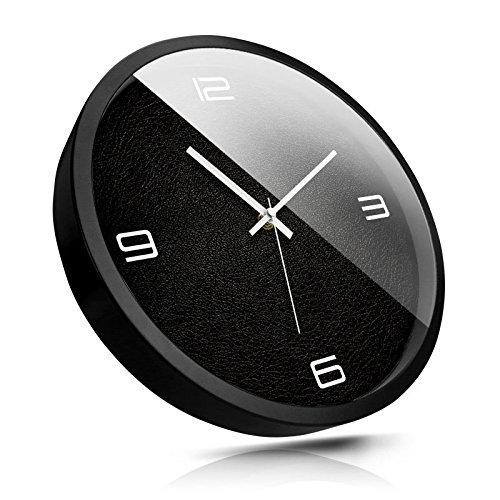 SL&HEY La reception lounge creative mute montaggio a parete TABELLA orologi al quarzo Orologio tessuto pelle HF0195,12 pollice , pin bianco scatola nera
