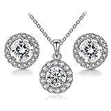 BaubleStar Damen Silber Teardrop kristall anhänger Halskette Ohrstecker Hochzeit schmuck-Set Silber-Set