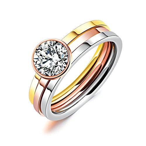 Adisaer Ringe Titan Damen Gothicring Mehrfarbig Drei Ringe mit Zirkonia Runde Ringgröße 57 (18.1) für Frauen Hochzeit Pyramide Marine