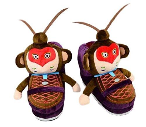 Bigood Chinesisch Affenkönig Form Haus Schuhen Warm Hausschuhen für 34-39Size Violett