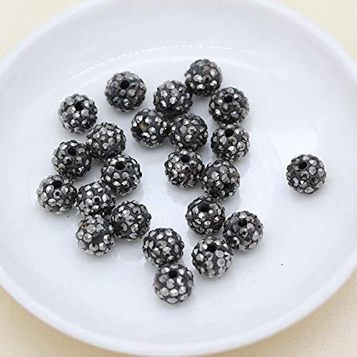 m 10 mm 12 mm Bunte tschechische Kristalle Strasssteine Pavé-Fassung Rund Disco-Kugel Abstandhalter Perlen für Armband Neacklace Perlen DIY: Hämatit 8 mm ()