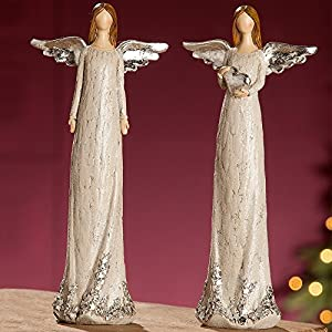 GILDE Deko Engel Sternenstaub stehend, 25,5x5x11 cm, beige-Silber, 1 Stück (Sortiert)