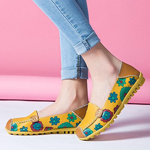 Oriskey Mocassins Femme Cuir Loafers Casual Bateau Chaussures de Ville Flats Jaune