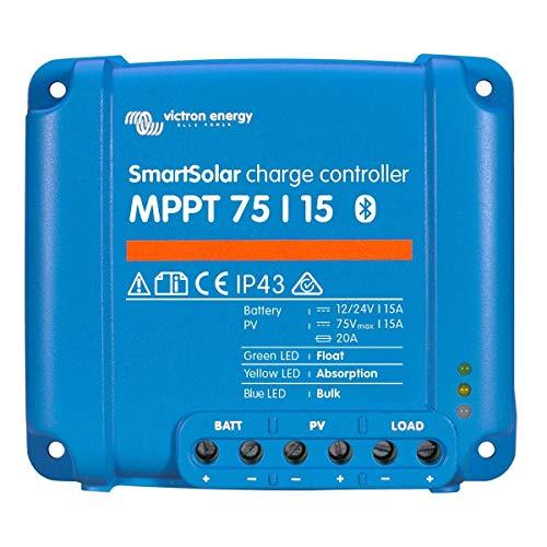 Victron Energy MPPT Smartsolar 75/15 15a regolatore di Carica Solare per Pannelli solari Fino a 220W (12v) / 440W (24V) e Fino a 75V