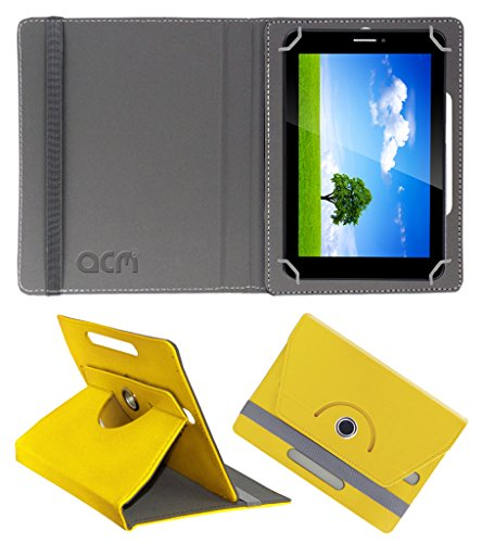 Acm Rotating 360° Leather Flip Case for Iball Slide 6351-Q40 Cover Stand Yellow  available at amazon for Rs.149
