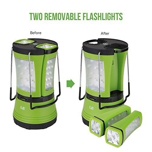 51h5F6b6SvL. SS500  - LE LED Camping Lantern with 2 Detachable Torches, USB Rechargeable and Battery Operated, 600 Lumen Tent Light, Outdoor Searchlight for Emergency, Hiking, Fishing, Power Cuts and More