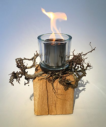 ANTARRIS Tischfeuer Dekofeuer Holz Feuerstelle Samoa Eichenholz mit Dekoästen