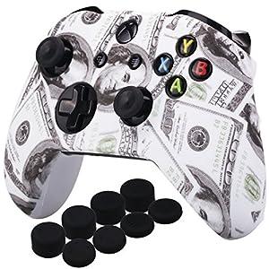 YoRHa Druck Gummi Silikon Hülle Skin Taschen für Xbox One S / X Controller x 1 (US Dollar) Mit PRO Daumengriffe Aufsätze Joystick-Kappen Thumb Grip x 8