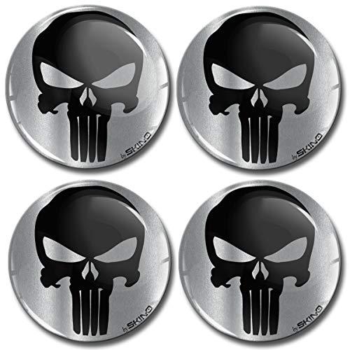 4 x 68mm 3D Adesivi in Silicone per Coprimozzo Cerchione Copricerchi Tappi Ruote Auto Tuning Punisher Skull Teschio Cranio A 7968