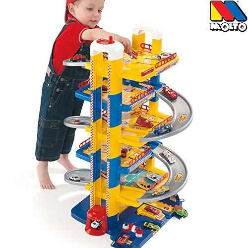 Parkgarage, 6 Ebenen, 84 cm hoch, Kunststoff, man. Aufzug: Auto Spielzeug Garage Spielstrasse Spielzeugauto 6 Etagen Parkhaus (Aufzug Auto)