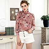 Mayihang Bluse Frauenhemd Meine Damen Kleid Shirt Langarm Bluse Feder,Rosa,S