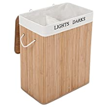 SONGMICS XXL 100 L Bamboo Laundry Basket Washing Box Bin Storage Hamper with 2 Sections Lid and Removable Washable Lining LCB64Y