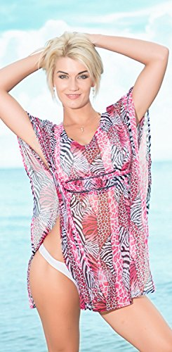 La Leela superleichte schiere Chiffon Vintage Kunst Badebekleidung Paillette dehnbar plus 4 in 1 Strand-Bikini-Vertuschung Tunika Lounge basic Kleid tunc Kaftan bestickt Rosa
