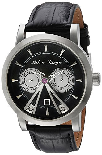 Adee Kaye Men's Automatic Stainless Steel and Leather Dress Watch, Color Black (Model: AK8871-SVBK)