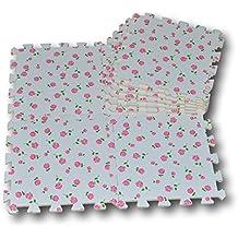 Alfombra puzzle de goma EVA para niños. 9 piezas. 90 x 90 x 1 cm. Flores sobre fondo crema