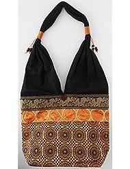 Sac bandoulière, sac besace soie Thai Orange safran ronds argent