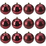 Multistore 2002 12 Stück Weihnachtskugeln Ø8cm 4 Sorten, Bordeaux Rot - Weihnachtsbaumkugeln Christbaumkugeln Christbaumschmuck Baumschmuck Dekokugeln