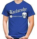 Karlsruhe kämpfen & Siegen Männer und Herren T-Shirt   Fussball Ultras Geschenk   M1 (M, Blau)
