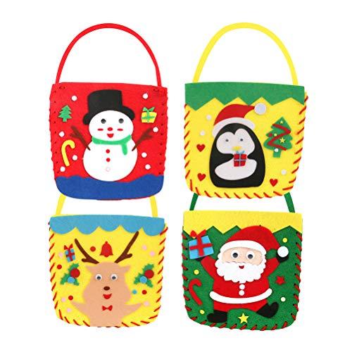 4 stücke Weihnachten vlies tuch handtasche diy süßigkeiten tasche geschenk pack für zuhause weihnachten neujahr dekoration lieferungen (gelbes deerlet, roter schneemann, grüner oldman, gelber pinguin)