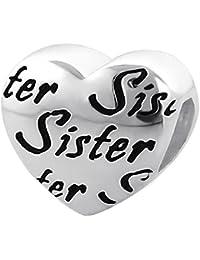 So Chic Joyas - Abalorio Charm Corazón de texto hermana Sister - Compatible con Pandora, Trollbeads, Chamilia, Biagi - Plata 925