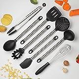 Cooksmark Kochgeschirr-set, 8-teilig Hitzebeständige Kochen-Tools aus Antihaft Silikon und Edelstahl, spülmaschinenfest - Schneebesen, Löffel, Pfannenwender, Suppenkelle, Spatel, Zange