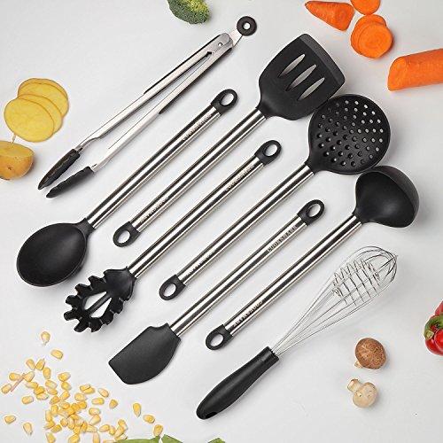 COOKSMARK 8-teilig Hitzebeständig Spülmaschinenfest Antihaft Edelstahl Silikon Aufhängen Küchenutensilien Küchenhelfer Kochgeschirr Kochen Tools Schlitz Löffel Kelle Zange Wender Schneebesen Set (Silikon-kochen-tools)