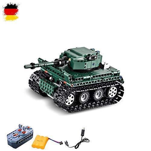 HSP Himoto 2.4GHz RC ferngesteuertes DIY Konstruktion Panzer German Tiger I aus Bausteine/Steckbausatz zum Selberbauen Basteln,Komplett-Set Inkl. Akku und Ladegerät
