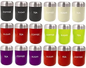 Kitchen Craft Coloured Stainless Steel Enamel Tea Sugar Coffee Storage Canisters Jars Set