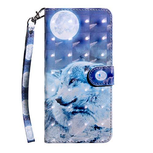 vingarshern Hülle für Ulefone Gemini Schutzhülle Etui Klappbares Magnetverschluss Lederhülle Flip Case Handytasche Ulefone Gemini Hülle Leder Brieftasche Tasche MEHRWEG(Wolf-1)