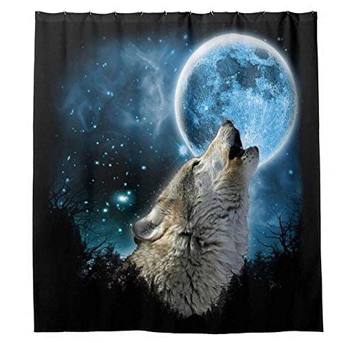 MIWANG Polyester White Wolf whistle Blasten aus personalisierte Stempel Vorhang wasserdicht Schimmelbeständiges Badezimmer Vorhänge Gesundheit dusche Intervall der Vorhang, W120*H 180 CM