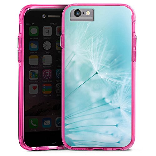 Apple iPhone X Bumper Hülle Bumper Case Glitzer Hülle Pusteblume Blau Blue Bumper Case transparent pink