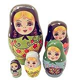 JQJPJOSIE 5 Pezzi/Set Bambole matrioska Bambola Babushka Bambole Russe di incastramento Regalo impilabile in Legno per Bambini