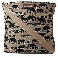 Ellie Elephant Print Crossbody Bag in Beige