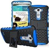 LG G3 Handy Tasche, FoneExpert® Hülle Abdeckung Cover schutzhülle Tough Strong Rugged Shock Proof Heavy Duty Case für LG G3 + Displayschutzfolie (Blau)