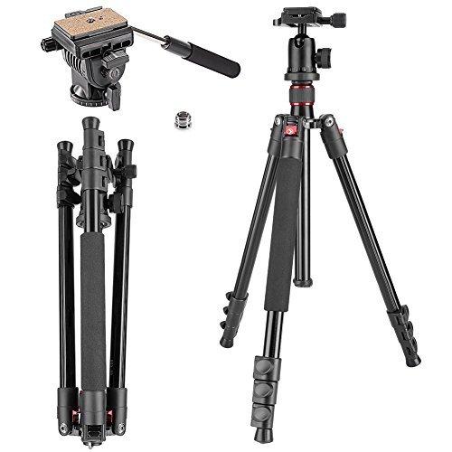 Neewer Alluminum Alloy 158 Zentimeter Kamera Stativ mit 360 Grad Kugelkopf, Fluid Video Kopf, 1/4 Zoll Schnellwechselplatte für DSLR-Kamera, Video-Camcorder, Lastfähigkeit bis zu 8 Kilogramm