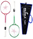 #10: StarX Multi-shaft Steel Badminton Racquet Set, Adult G4 - 3 3/4-inch (Multicolor)