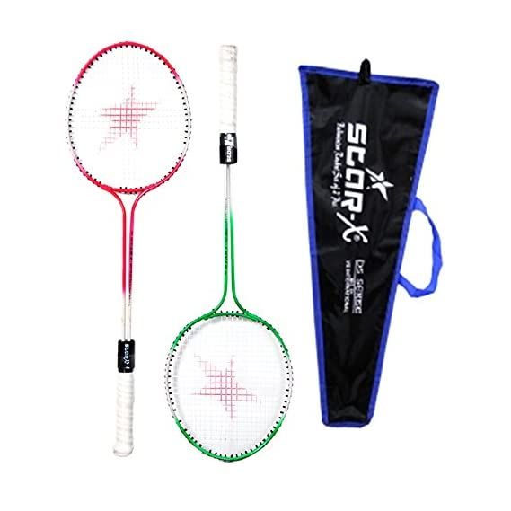 StarX Multi-Shaft Steel Badminton Racquet Set, Adult G4-3 3/4-inch (Multicolor)