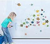 ufengke® Unterwasserwelt Wenig Schönen Fischen und Blasen DIY Wandsticker,Kinderzimmer Babyzimmer Entfernbare Wandtattoos Wandbilder