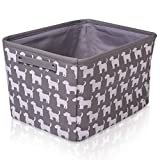 Grey Dog Canvas Storage Basket Rectangle Fabric Basket with White Dogs  Perfect for Household Storage, Fabrics or Toys. Size: 40cms x 30cms x 25cms