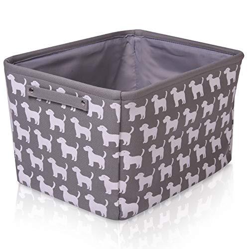 Graufarbener Hunde Leinen-Aufbewahrungskorb - qualitativ hochwertiger Korb mit weiß Hunde für die Aufbewahrung von Haushaltsartikeln. 40cm x 30cm x 25cm -