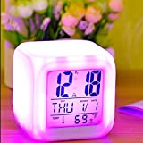 Clomana 7 Colour Changing LED Digital Alarm Clock with Date, Time, Temperature for Office and Bedroom