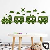 DESIGNSCAPE® Wandtattoo Kinder Eisenbahn | Wandtattoo Kinderzimmer Zug 80 x 28 cm (Breite x Höhe) dunkelgrau DW809097-S-F7