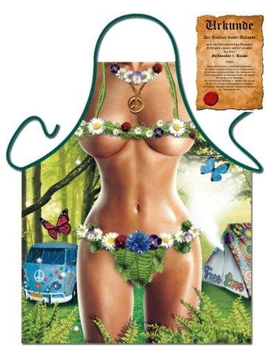 Preisvergleich Produktbild witzige sexy Schürze für Frauen Hippie Girl freie Liebe Peace Blumenkind Einheitsgröße mit Urkunde