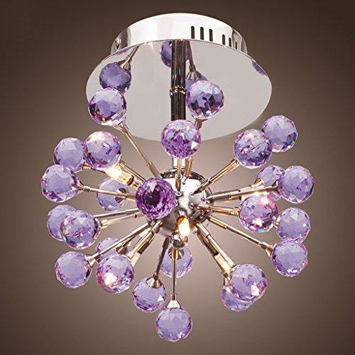 H.L Kristall-Kronleuchter 6-Licht Deckenleuchte Crystal Mini Semi Flush Mount Deckenleuchte Pendelleuchte (Lila) -