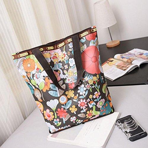 JERFER Blumen gedruckte Segeltuch Einkaufstaschen Große Kapazitäts Segeltuch Strand Tasche J