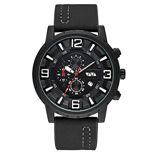 AmzGxp Schwarz/braun wasserdicht Herren Sport Quarzuhr großes Zifferblatt mit Kalender Peeling Strap Herren Business Casual Watch Exquisit (Farbe : Black) Halloween-peeling