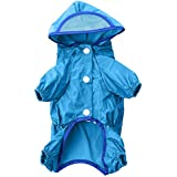 Sundlight Pet Hoodie Jumpsuit Raincoat for Small and Medium Dogs, Snap Button Waterproof Rainy Days Accessory Jacket Cloth with Extra Long Brim for Cats and Small Dogs (Blue, Size S)