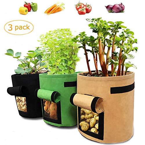LOBKIN Sacchi per Piante Set di 3 Vasi per Piante, per Patate, Carote & Pomodori, Potato Grow Bag 7 galloni Grow Borse Premium Tessuto Non Tessuto Traspirante Impermeabili con Finestra (Multicolore)